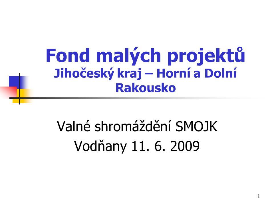 1 Fond malých projektů Jihočeský kraj – Horní a Dolní Rakousko Valné shromáždění SMOJK Vodňany 11.