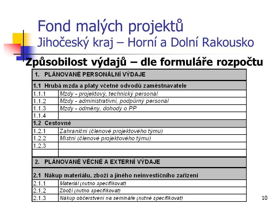 10 Fond malých projektů Jihočeský kraj – Horní a Dolní Rakousko Způsobilost výdajů – dle formuláře rozpočtu
