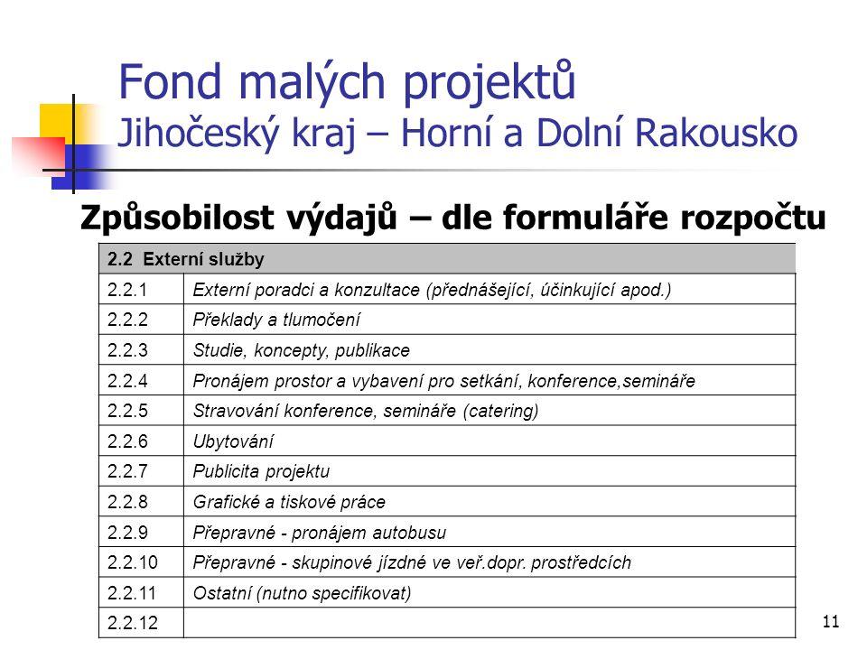 11 Fond malých projektů Jihočeský kraj – Horní a Dolní Rakousko Způsobilost výdajů – dle formuláře rozpočtu 2.2 Externí služby 2.2.1Externí poradci a konzultace (přednášející, účinkující apod.) 2.2.2Překlady a tlumočení 2.2.3Studie, koncepty, publikace 2.2.4Pronájem prostor a vybavení pro setkání, konference,semináře 2.2.5Stravování konference, semináře (catering) 2.2.6Ubytování 2.2.7Publicita projektu 2.2.8Grafické a tiskové práce 2.2.9Přepravné - pronájem autobusu 2.2.10Přepravné - skupinové jízdné ve veř.dopr.