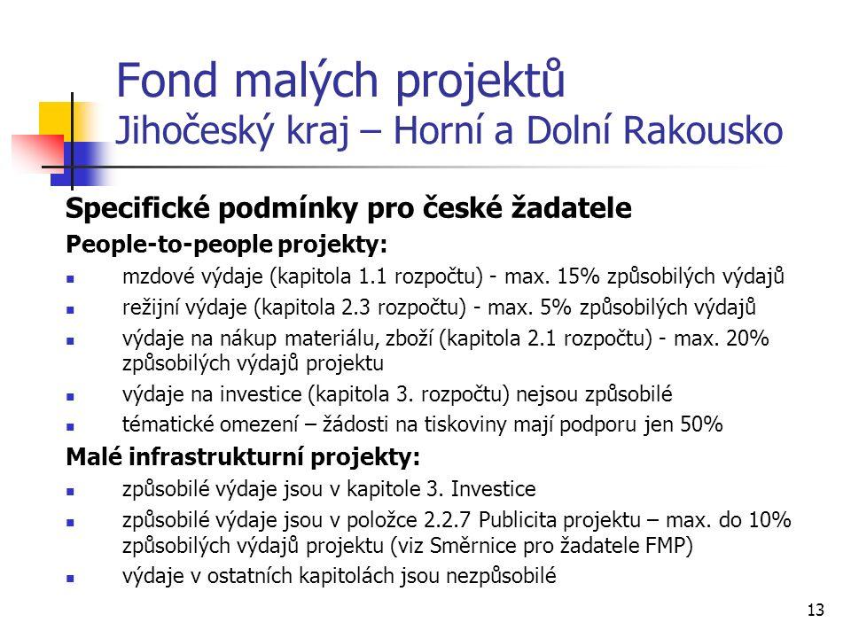 13 Fond malých projektů Jihočeský kraj – Horní a Dolní Rakousko Specifické podmínky pro české žadatele People-to-people projekty: mzdové výdaje (kapitola 1.1 rozpočtu) - max.