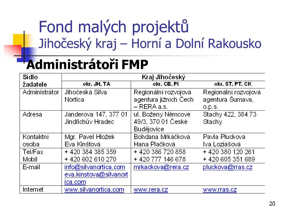 20 Fond malých projektů Jihočeský kraj – Horní a Dolní Rakousko Administrátoři FMP
