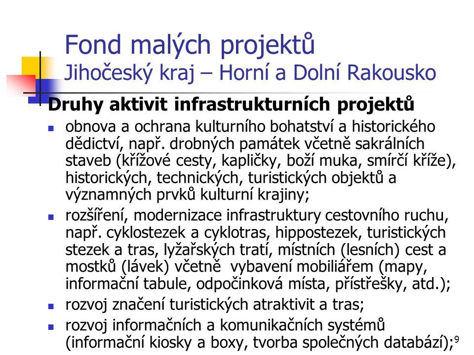 9 Fond malých projektů Jihočeský kraj – Horní a Dolní Rakousko Druhy aktivit infrastrukturních projektů obnova a ochrana kulturního bohatství a historického dědictví, např.