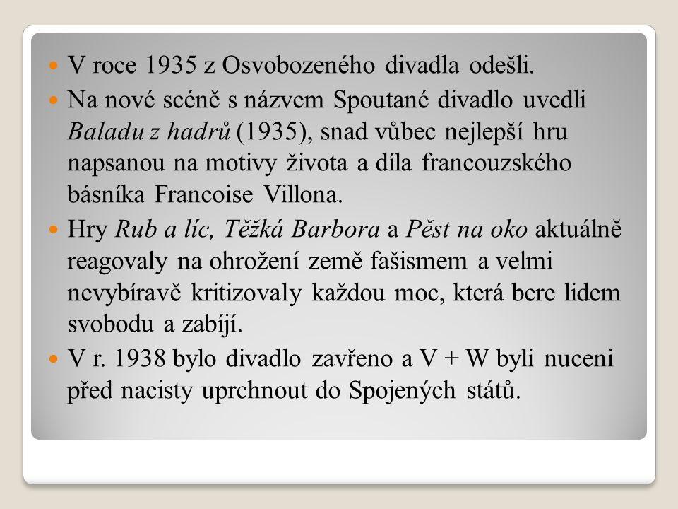 V roce 1935 z Osvobozeného divadla odešli. Na nové scéně s názvem Spoutané divadlo uvedli Baladu z hadrů (1935), snad vůbec nejlepší hru napsanou na m