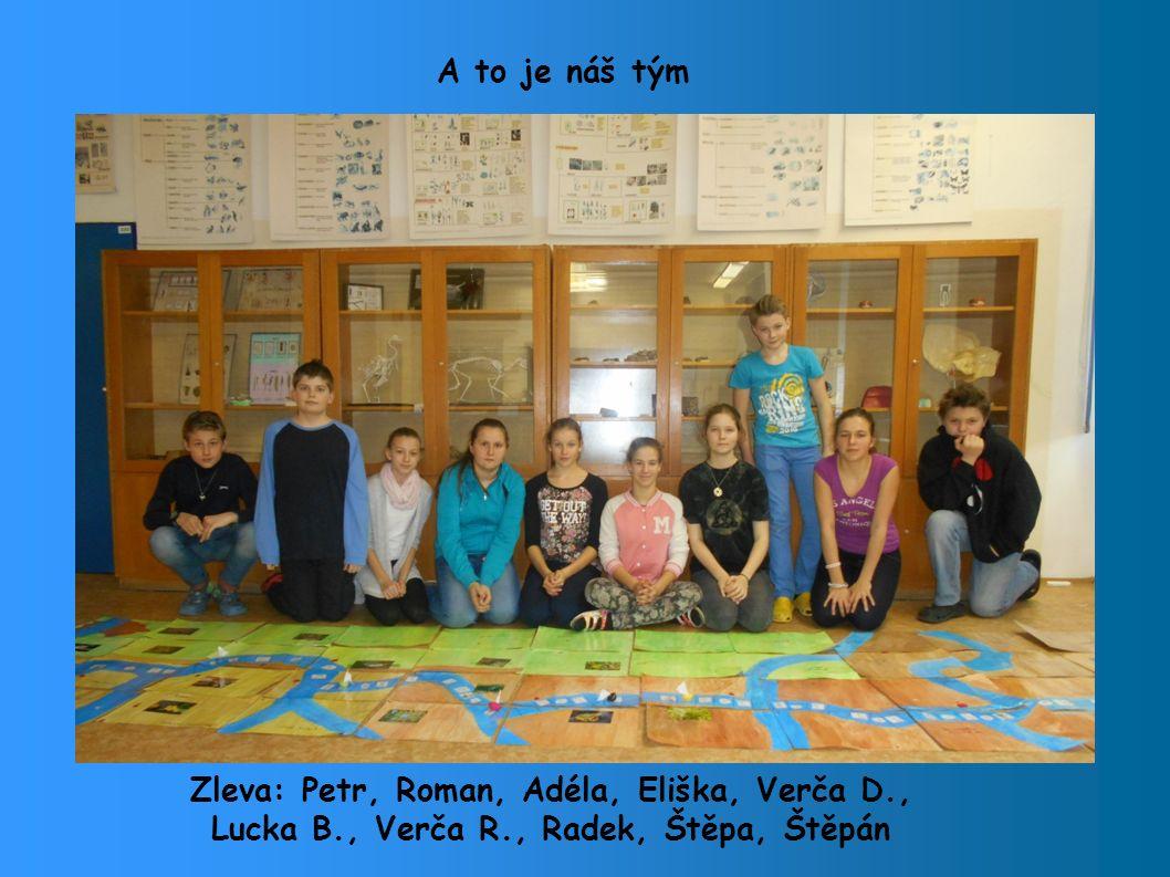 A to je náš tým Zleva: Petr, Roman, Adéla, Eliška, Verča D., Lucka B., Verča R., Radek, Štěpa, Štěpán