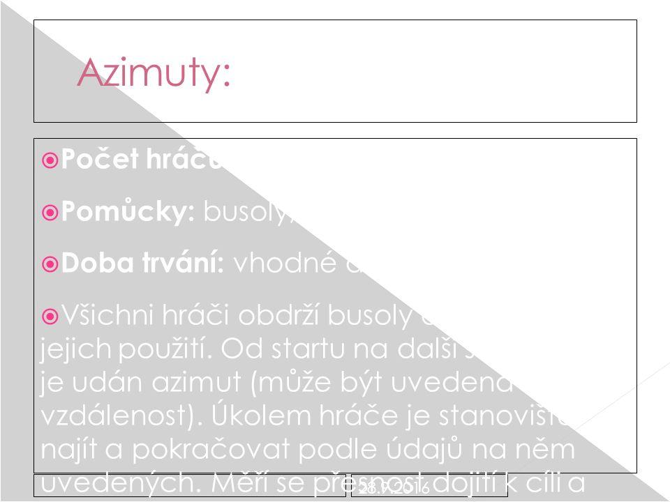 28.9.2016 Azimuty:  Počet hráčů: libovolný  Pomůcky: busoly, čtvrtky a azimuty  Doba trvání: vhodné do 30 minut  Všichni hráči obdrží busoly a vysvětlí se jim jejich použití.