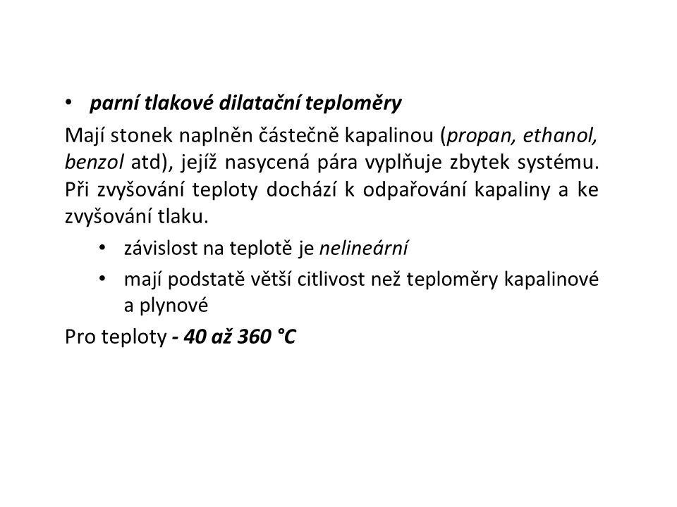 c) dilatační teploměry s pevnou látkou Využívají teplotní roztažnost tuhých látek.