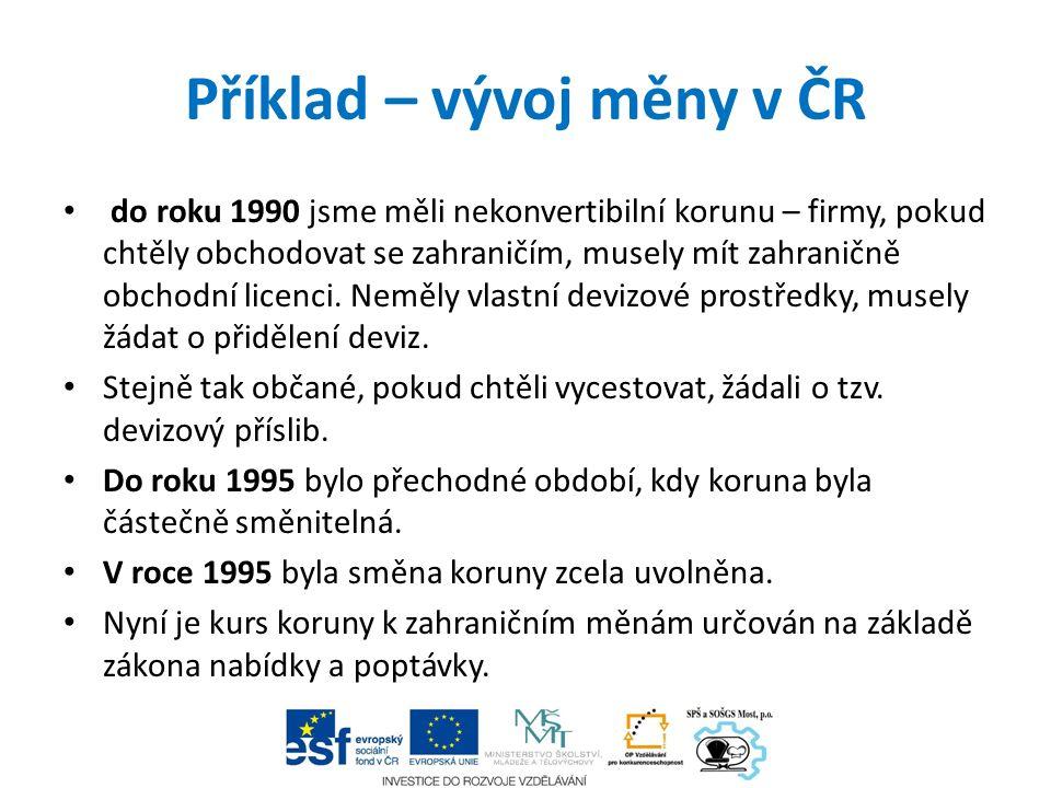 Příklad – vývoj měny v ČR do roku 1990 jsme měli nekonvertibilní korunu – firmy, pokud chtěly obchodovat se zahraničím, musely mít zahraničně obchodní licenci.