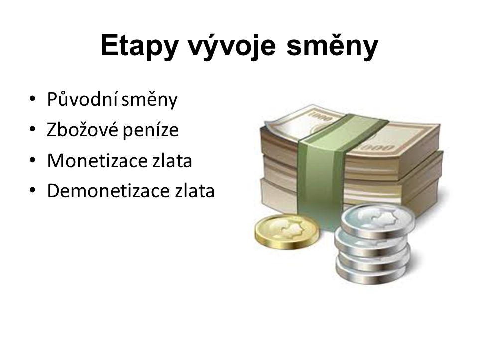 Etapy vývoje směny Původní směny Zbožové peníze Monetizace zlata Demonetizace zlata