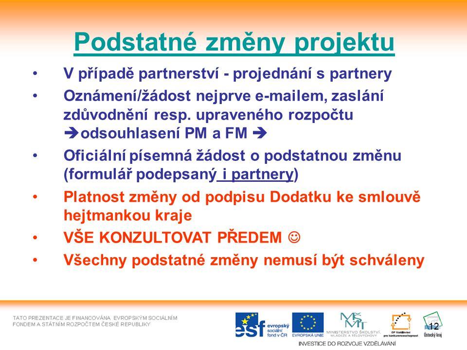 12 Podstatné změny projektu V případě partnerství - projednání s partnery Oznámení/žádost nejprve e-mailem, zaslání zdůvodnění resp.