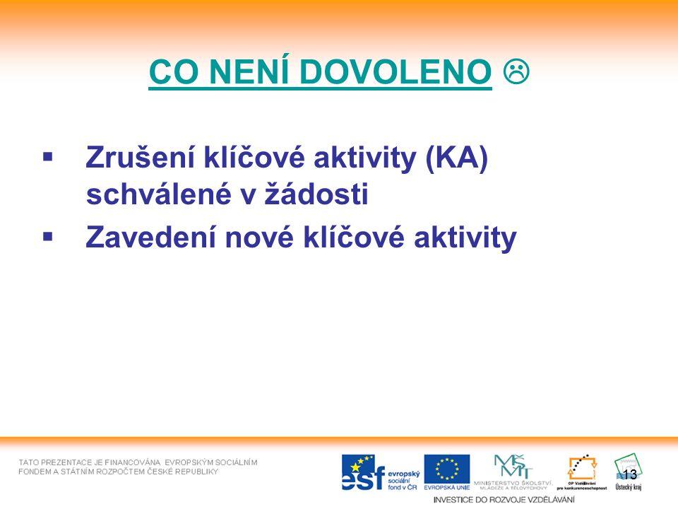 13  Zrušení klíčové aktivity (KA) schválené v žádosti  Zavedení nové klíčové aktivity CO NENÍ DOVOLENO 