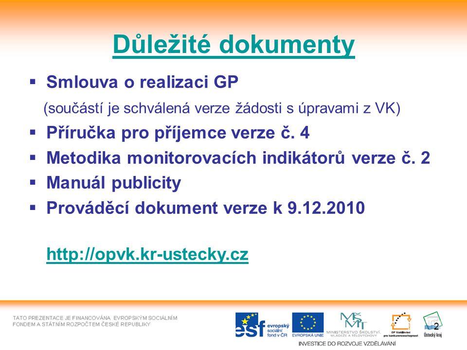 2 Důležité dokumenty  Smlouva o realizaci GP (součástí je schválená verze žádosti s úpravami z VK)  Příručka pro příjemce verze č. 4  Metodika moni