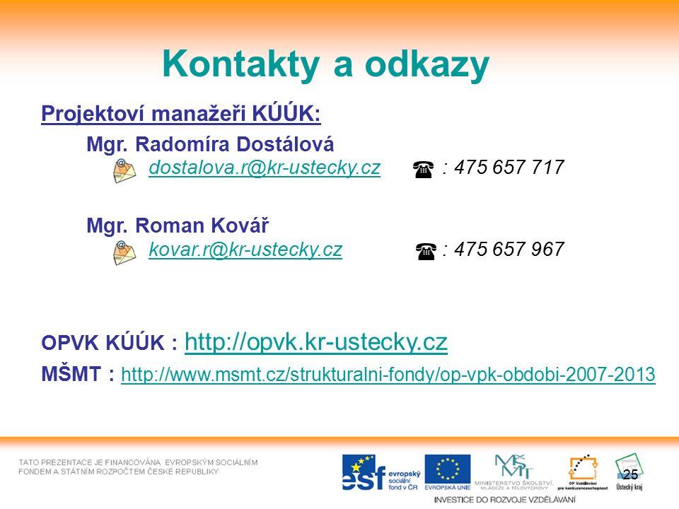 25 Kontakty a odkazy Projektoví manažeři KÚÚK: Mgr. Radomíra Dostálová dostalova.r@kr-ustecky.czdostalova.r@kr-ustecky.cz : 475 657 717 Mgr. Roman Kov