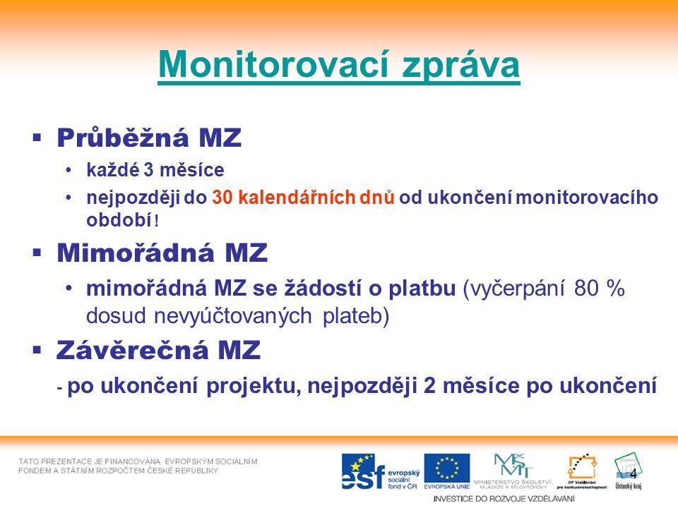 4 Monitorovací zpráva  Průběžná MZ každé 3 měsíce nejpozději do 30 kalendářních dnů od ukončení monitorovacího období !  Mimořádná MZ mimořádná MZ s