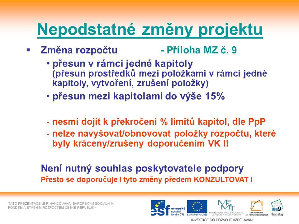 9 Nepodstatné změny projektu  Změna rozpočtu- Příloha MZ č.