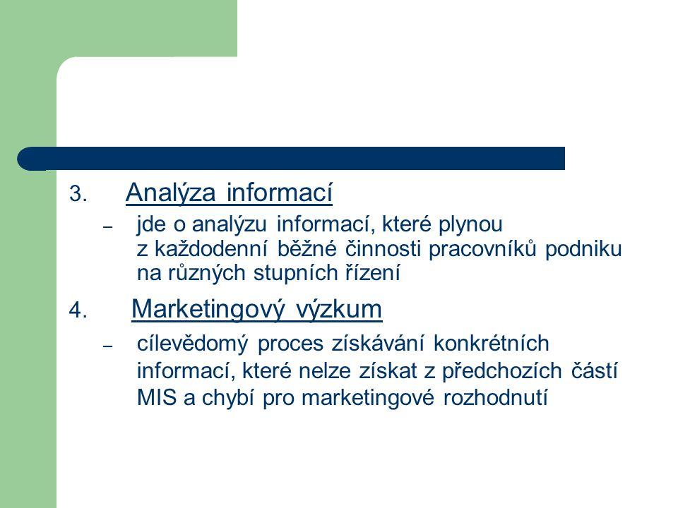 3. Analýza informací – jde o analýzu informací, které plynou z každodenní běžné činnosti pracovníků podniku na různých stupních řízení 4. Marketingový
