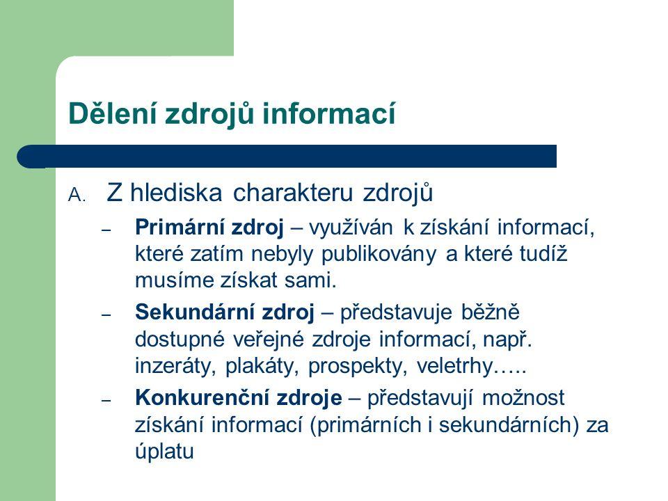 Dělení zdrojů informací A. Z hlediska charakteru zdrojů – Primární zdroj – využíván k získání informací, které zatím nebyly publikovány a které tudíž
