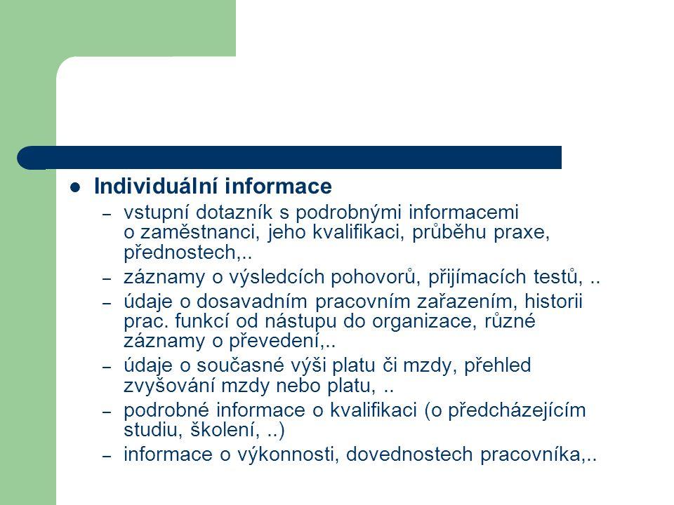 Individuální informace – vstupní dotazník s podrobnými informacemi o zaměstnanci, jeho kvalifikaci, průběhu praxe, přednostech,.. – záznamy o výsledcí