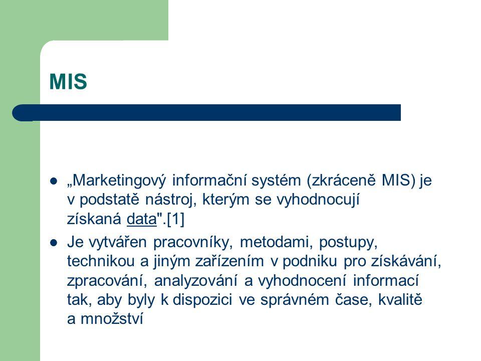 """MIS """"Marketingový informační systém (zkráceně MIS) je v podstatě nástroj, kterým se vyhodnocují získaná data"""