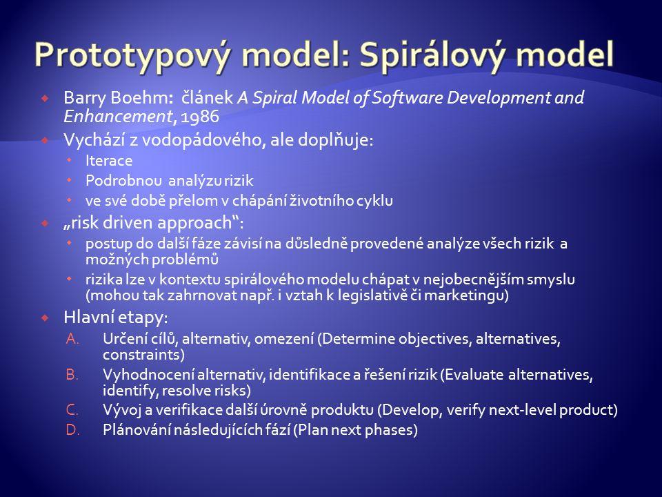 """ Barry Boehm: článek A Spiral Model of Software Development and Enhancement, 1986  Vychází z vodopádového, ale doplňuje:  Iterace  Podrobnou analýzu rizik  ve své době přelom v chápání životního cyklu  """"risk driven approach :  postup do další fáze závisí na důsledně provedené analýze všech rizik a možných problémů  rizika lze v kontextu spirálového modelu chápat v nejobecnějším smyslu (mohou tak zahrnovat např."""