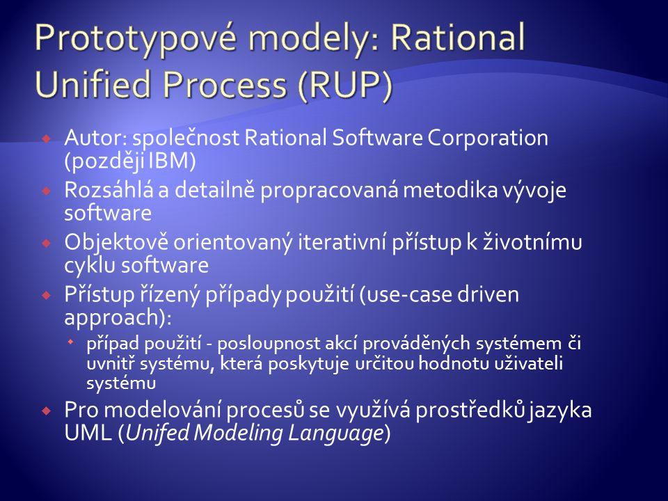  Autor: společnost Rational Software Corporation (později IBM)  Rozsáhlá a detailně propracovaná metodika vývoje software  Objektově orientovaný iterativní přístup k životnímu cyklu software  Přístup řízený případy použití (use-case driven approach):  případ použití - posloupnost akcí prováděných systémem či uvnitř systému, která poskytuje určitou hodnotu uživateli systému  Pro modelování procesů se využívá prostředků jazyka UML (Unifed Modeling Language)