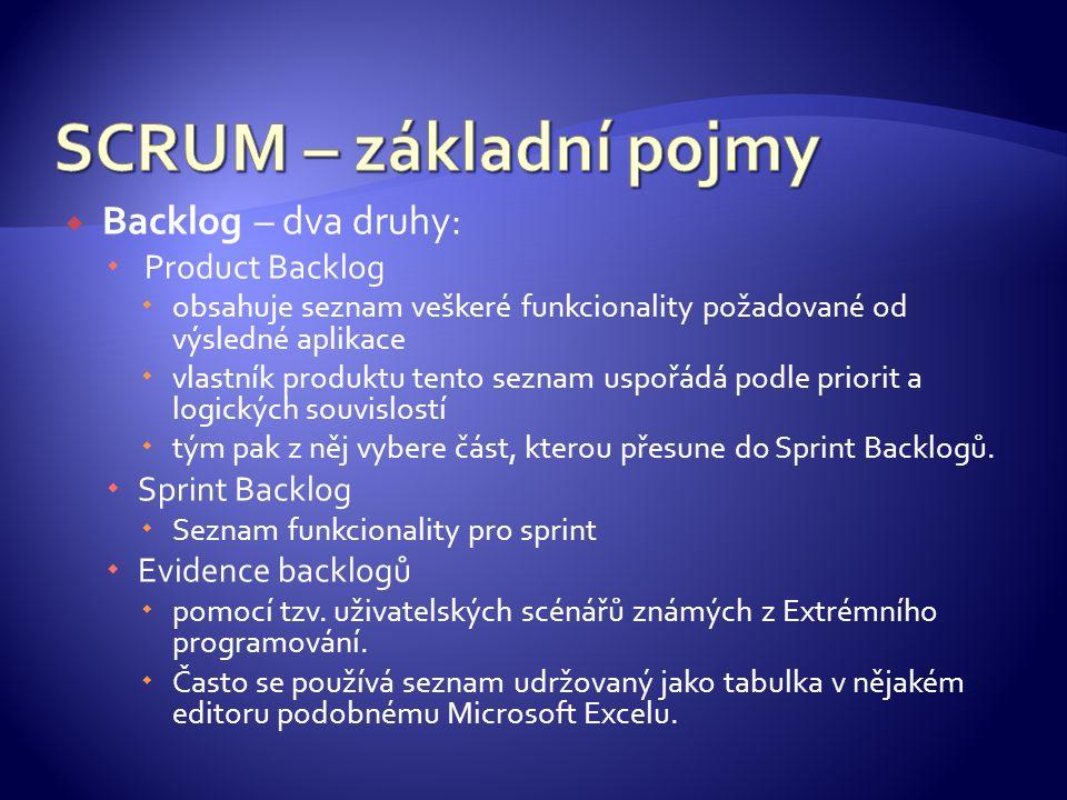  Backlog – dva druhy:  Product Backlog  obsahuje seznam veškeré funkcionality požadované od výsledné aplikace  vlastník produktu tento seznam uspořádá podle priorit a logických souvislostí  tým pak z něj vybere část, kterou přesune do Sprint Backlogů.