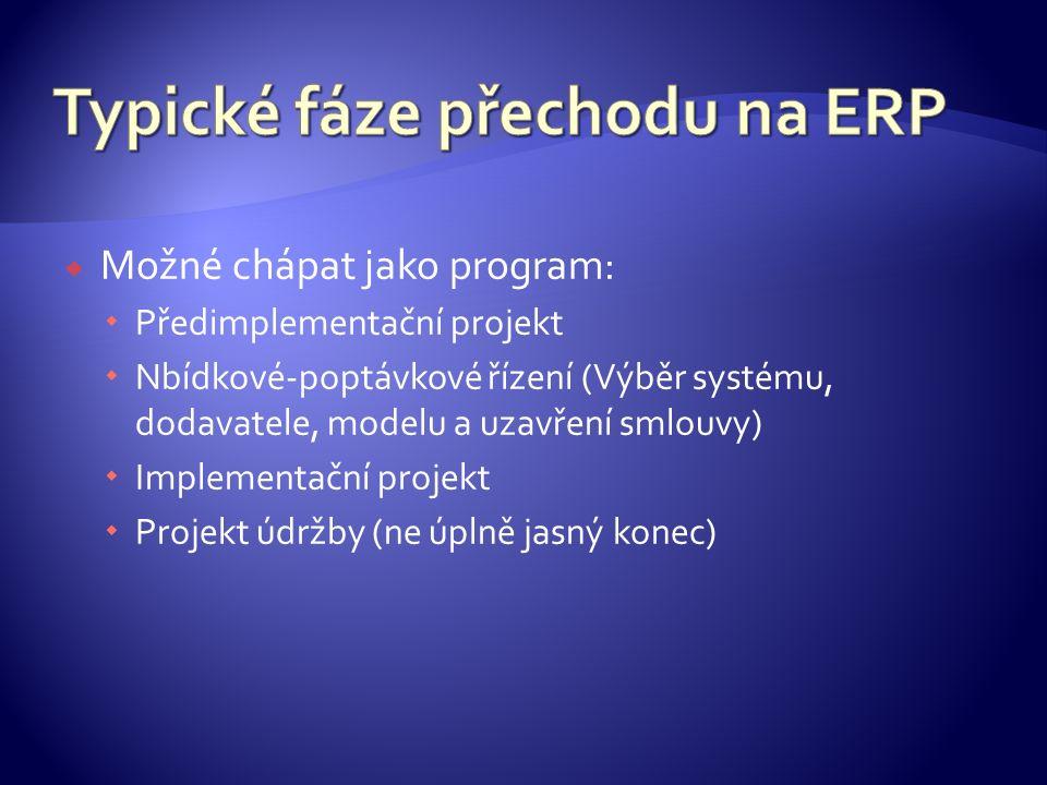  Možné chápat jako program:  Předimplementační projekt  Nbídkové-poptávkové řízení (Výběr systému, dodavatele, modelu a uzavření smlouvy)  Implementační projekt  Projekt údržby (ne úplně jasný konec)