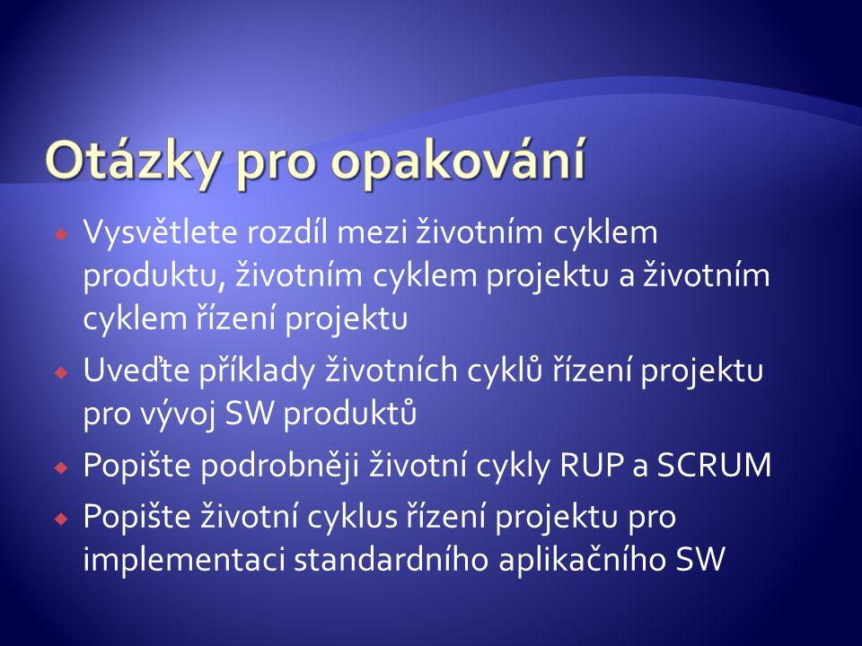  Vysvětlete rozdíl mezi životním cyklem produktu, životním cyklem projektu a životním cyklem řízení projektu  Uveďte příklady životních cyklů řízení projektu pro vývoj SW produktů  Popište podrobněji životní cykly RUP a SCRUM  Popište životní cyklus řízení projektu pro implementaci standardního aplikačního SW