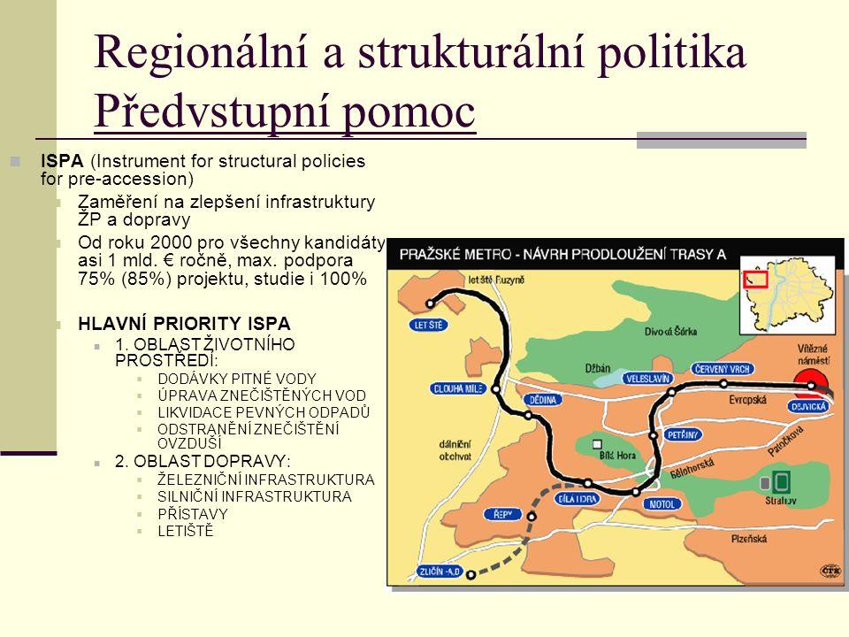 Regionální a strukturální politika Předvstupní pomoc ISPA (Instrument for structural policies for pre-accession) Zaměření na zlepšení infrastruktury ŽP a dopravy Od roku 2000 pro všechny kandidáty asi 1 mld.