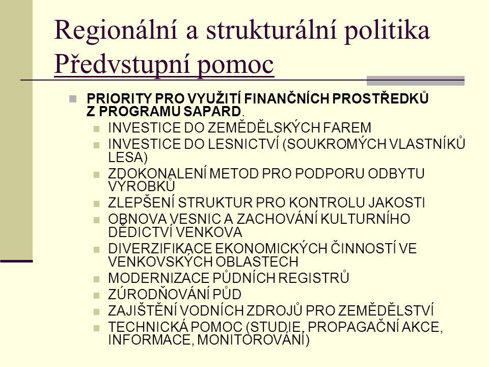 Regionální a strukturální politika Předvstupní pomoc PRIORITY PRO VYUŽITÍ FINANČNÍCH PROSTŘEDKŮ Z PROGRAMU SAPARD.