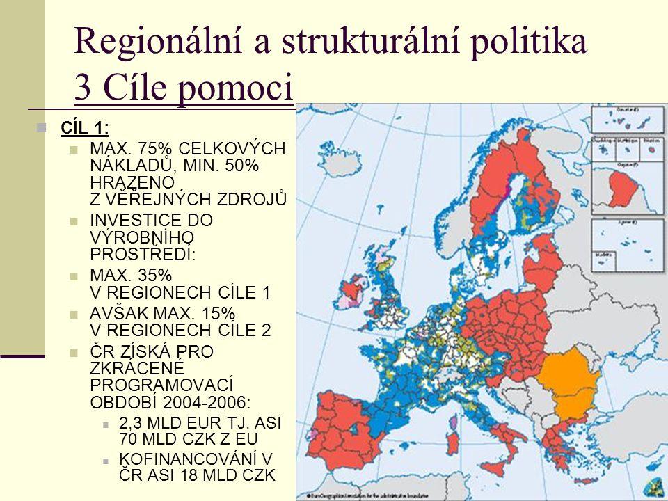 Regionální a strukturální politika 3 Cíle pomoci CÍL 1: MAX.