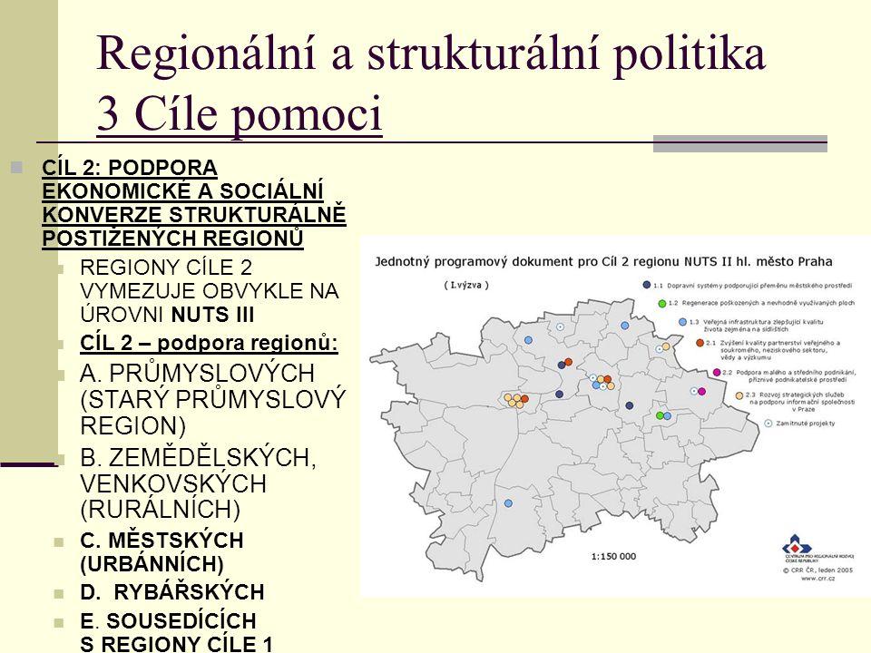 Regionální a strukturální politika 3 Cíle pomoci CÍL 2: PODPORA EKONOMICKÉ A SOCIÁLNÍ KONVERZE STRUKTURÁLNĚ POSTIŽENÝCH REGIONŮ REGIONY CÍLE 2 VYMEZUJE OBVYKLE NA ÚROVNI NUTS III CÍL 2 – podpora regionů: A.
