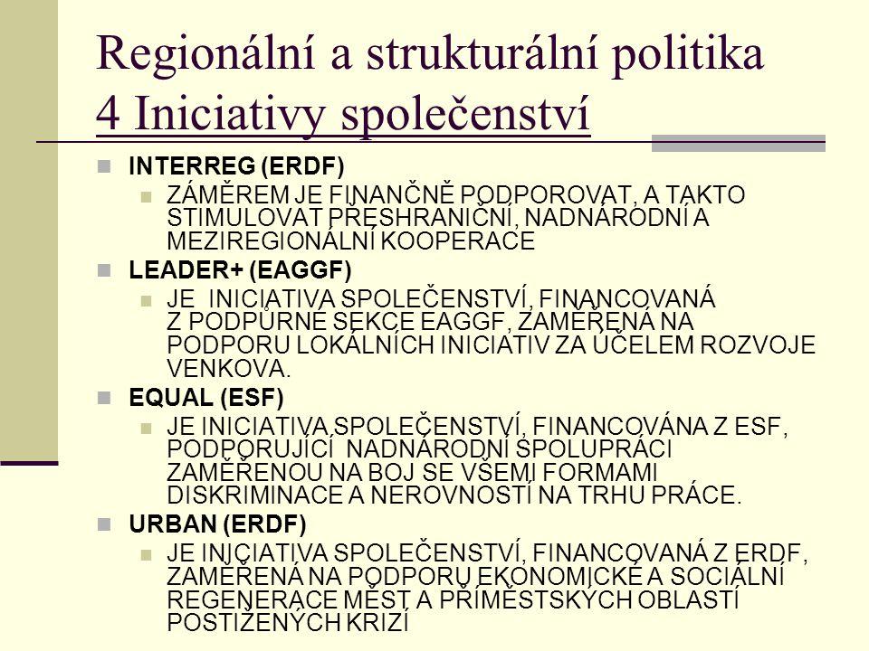 Regionální a strukturální politika 4 Iniciativy společenství INTERREG (ERDF) ZÁMĚREM JE FINANČNĚ PODPOROVAT, A TAKTO STIMULOVAT PŘESHRANIČNÍ, NADNÁRODNÍ A MEZIREGIONÁLNÍ KOOPERACE LEADER+ (EAGGF) JE INICIATIVA SPOLEČENSTVÍ, FINANCOVANÁ Z PODPŮRNÉ SEKCE EAGGF, ZAMĚŘENÁ NA PODPORU LOKÁLNÍCH INICIATIV ZA ÚČELEM ROZVOJE VENKOVA.