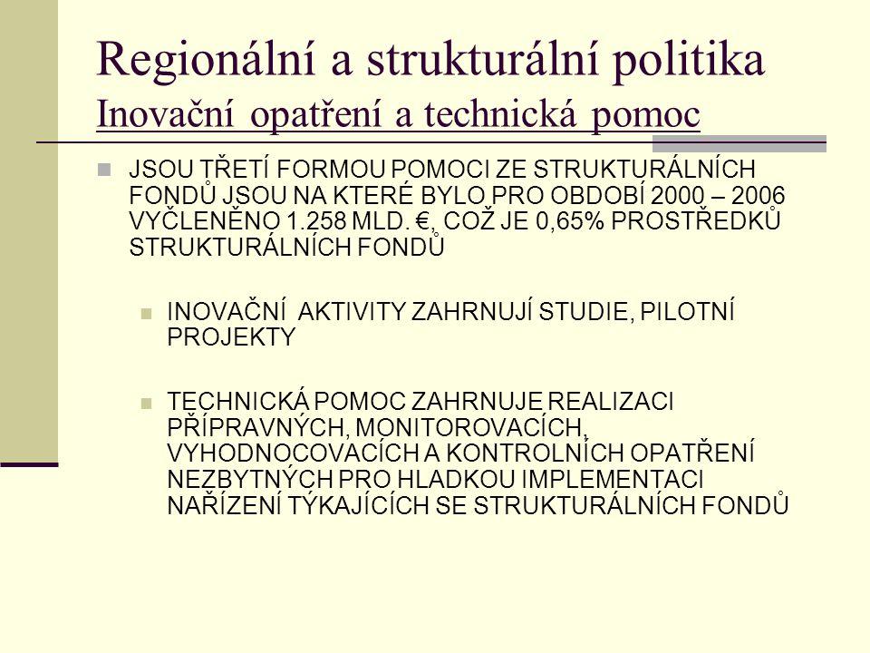 Regionální a strukturální politika Inovační opatření a technická pomoc JSOU TŘETÍ FORMOU POMOCI ZE STRUKTURÁLNÍCH FONDŮ JSOU NA KTERÉ BYLO PRO OBDOBÍ 2000 – 2006 VYČLENĚNO 1.258 MLD.