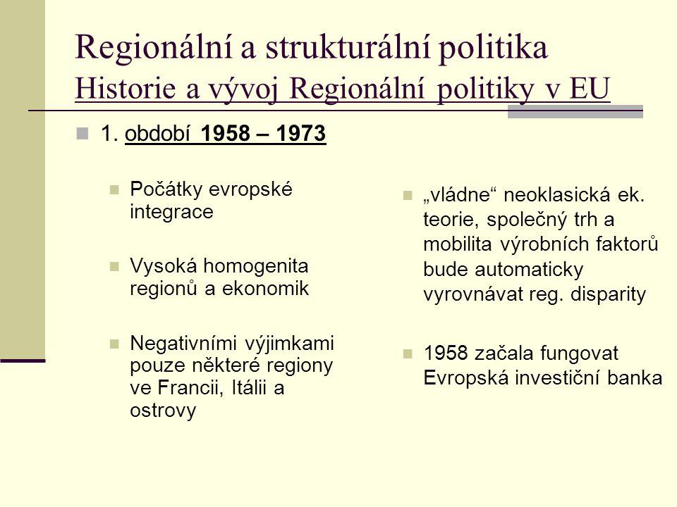 Regionální a strukturální politika Historie a vývoj Regionální politiky v EU 1.