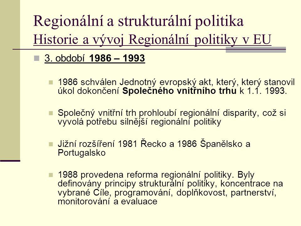 Regionální a strukturální politika Historie a vývoj Regionální politiky v EU 3.