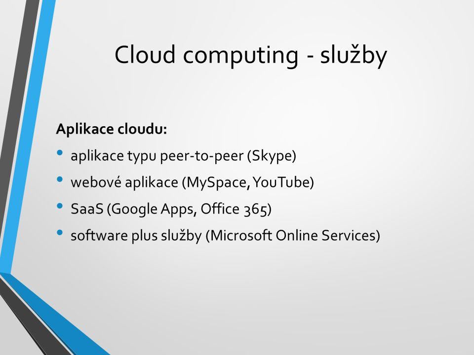 Cloud computing - služby Aplikace cloudu: aplikace typu peer-to-peer (Skype) webové aplikace (MySpace, YouTube) SaaS (Google Apps, Office 365) software plus služby (Microsoft Online Services)