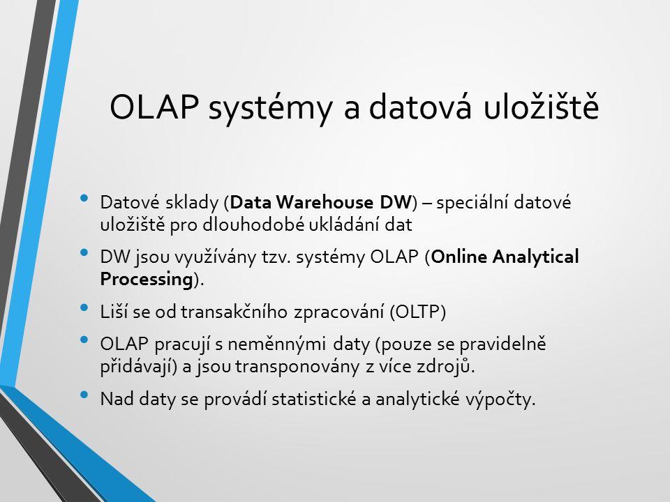 Datové sklady (Data Warehouse DW) – speciální datové uložiště pro dlouhodobé ukládání dat DW jsou využívány tzv. systémy OLAP (Online Analytical Proce