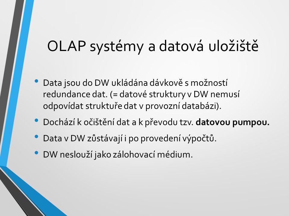 Data jsou do DW ukládána dávkově s možností redundance dat. (= datové struktury v DW nemusí odpovídat struktuře dat v provozní databázi). Dochází k oč