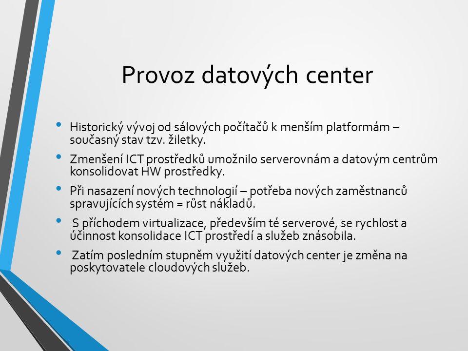 Provoz datových center Historický vývoj od sálových počítačů k menším platformám – současný stav tzv. žiletky. Zmenšení ICT prostředků umožnilo server