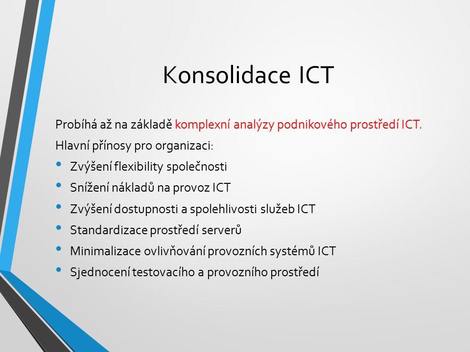 Konsolidace ICT Probíhá až na základě komplexní analýzy podnikového prostředí ICT. Hlavní přínosy pro organizaci: Zvýšení flexibility společnosti Sníž