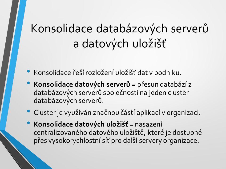Konsolidace databázových serverů a datových uložišť Konsolidace řeší rozložení uložišť dat v podniku. Konsolidace datových serverů = přesun databází z