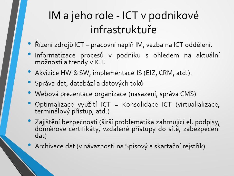 IM a jeho role - ICT v podnikové infrastruktuře Řízení zdrojů ICT – pracovní náplň IM, vazba na ICT oddělení. Informatizace procesů v podniku s ohlede