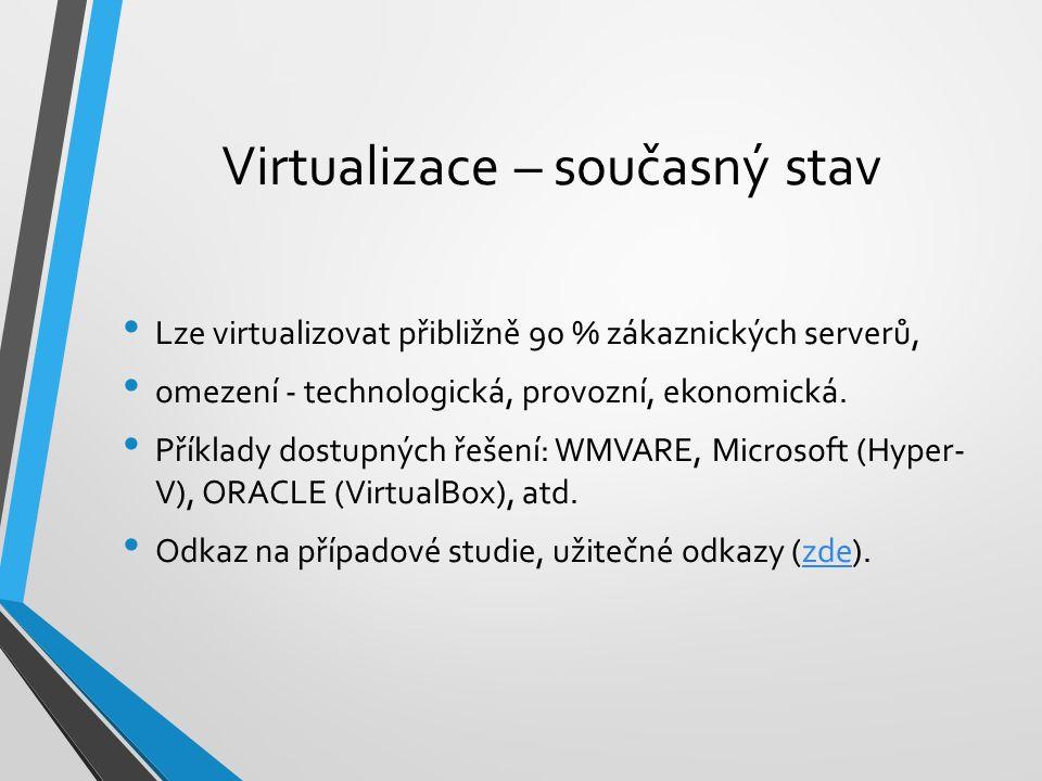 Virtualizace – současný stav Lze virtualizovat přibližně 90 % zákaznických serverů, omezení - technologická, provozní, ekonomická. Příklady dostupných