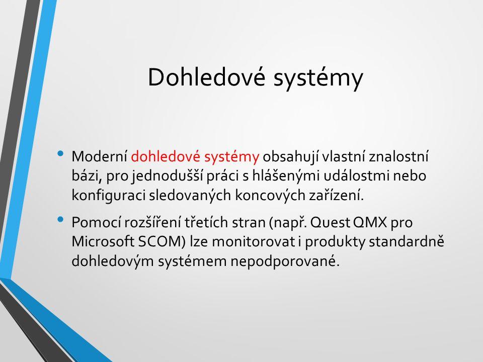 Dohledové systémy Moderní dohledové systémy obsahují vlastní znalostní bázi, pro jednodušší práci s hlášenými událostmi nebo konfiguraci sledovaných koncových zařízení.