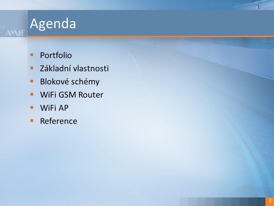 Kliknutím lze upravit styl.  Portfolio  Základní vlastnosti  Blokové schémy  WiFi GSM Router  WiFi AP  Reference Agenda 2