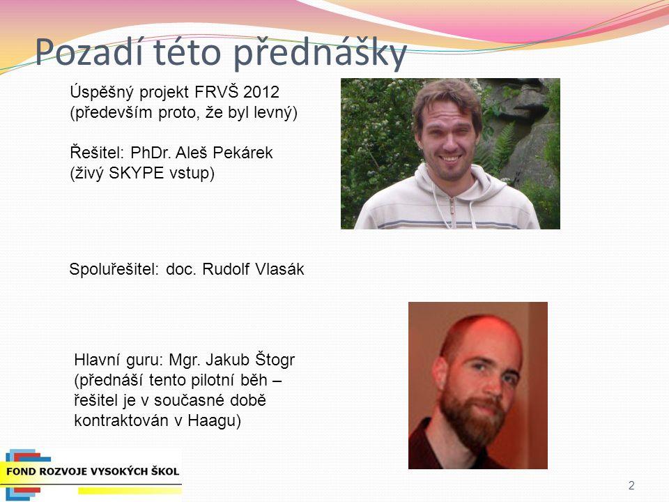 Pozadí této přednášky 2 Úspěšný projekt FRVŠ 2012 (především proto, že byl levný) Řešitel: PhDr. Aleš Pekárek (živý SKYPE vstup) Spoluřešitel: doc. Ru