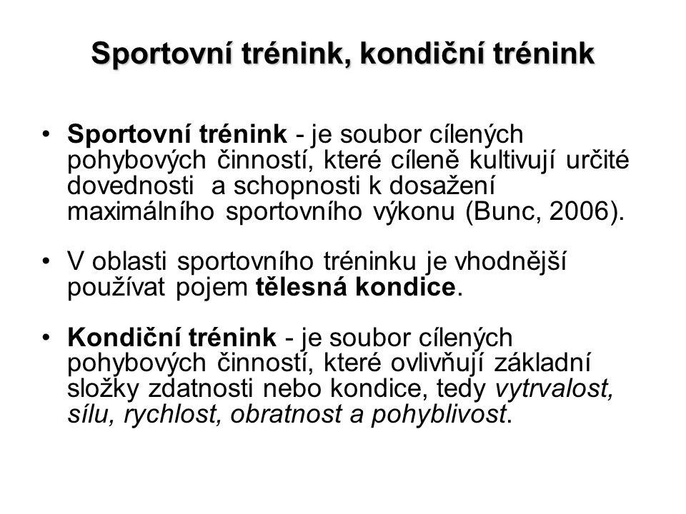 Sportovní trénink, kondiční trénink Sportovní trénink - je soubor cílených pohybových činností, které cíleně kultivují určité dovednosti a schopnosti k dosažení maximálního sportovního výkonu (Bunc, 2006).