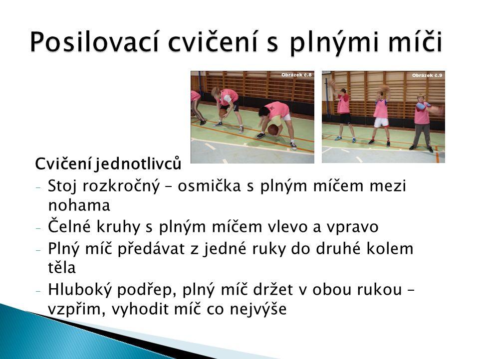 Cvičení jednotlivců - Stoj rozkročný – osmička s plným míčem mezi nohama - Čelné kruhy s plným míčem vlevo a vpravo - Plný míč předávat z jedné ruky do druhé kolem těla - Hluboký podřep, plný míč držet v obou rukou – vzpřim, vyhodit míč co nejvýše