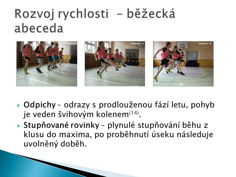  Odpichy – odrazy s prodlouženou fází letu, pohyb je veden švihovým kolenem (14).