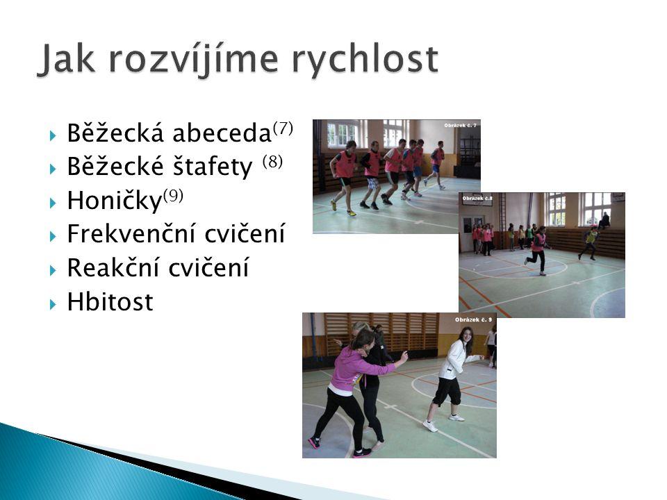  Běžecká abeceda (7)  Běžecké štafety (8)  Honičky (9)  Frekvenční cvičení  Reakční cvičení  Hbitost